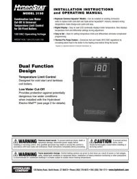 HydroStat 3150 Installation Sheet