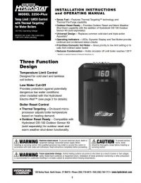 HydroStat 3250 Plus Installation Sheet