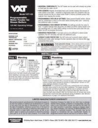 Model VXT-120 Installation Sheet